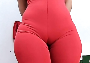 Tall ASS Super ROUND and Tiny Waist PERFECTION With the addition of Cameltoe in Tight-fisted Spandex Bodysuit