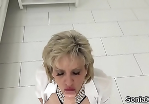 Inglorious english mature lady sonia shows off her large tits