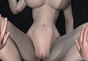 Gorgeous 3d anime hottie with huge breasts receives her wet pussy unconvincing and inspected