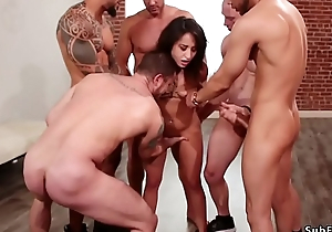 Gangbang added to anal fucking in s&m orgy