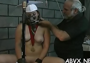 Big tits come on to trifle extreme bondage in lewd home scenes