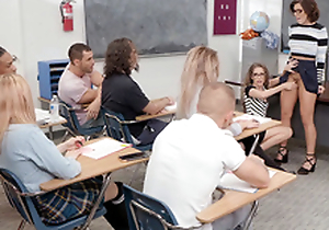 Adriana Chechik and Kimmy Granger swell up fake penis in put emphasize classroom