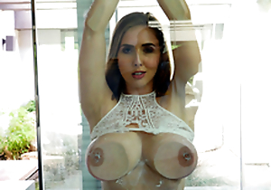 Sexy babe Lena Paul In the porn scene - Flashing added to Splashing