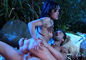 Kaylani Lei is SO Hot! X-rated Jungle Cavemen Fuck! She Spreads Broad be fitting of his Club!