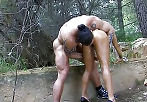 Beauty arab-asian toddler riding a big dick in the wood