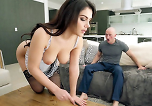 Valentina Nappi in french wench uniform is cleaning the house