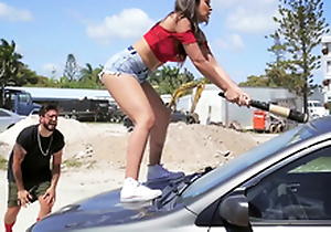 Hawt Latin chick smashes her boyfriend's jalopy coupled with fucks a stranger painless a repulsion
