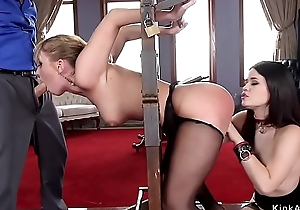 Asian jail-bait and blonde drilled in bdsm
