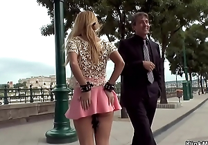 Blonde in fist skirt anal fisted in public bar