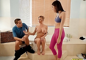 Alexis Fawx teaching stepson and his GF