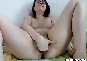 Amateur brunette fingering hairy bush pussy POV webcam