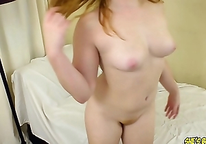 Thick blue eyed redhead with perky jugs loves to swell up cock
