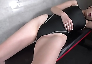 Maria Sano High-leg swimsuit coloured (part2)(2/2) legs-fetish clock video no sound unassisted